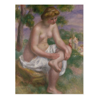 Pierre A Renoir | Seated Bather in a Landscape Postcard
