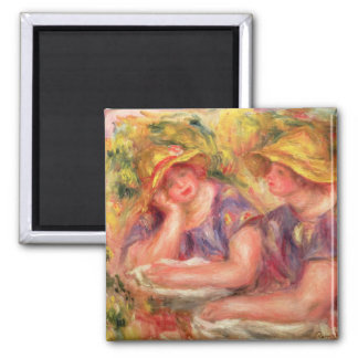 Pierre A Renoir | Two women in blue blouses Square Magnet