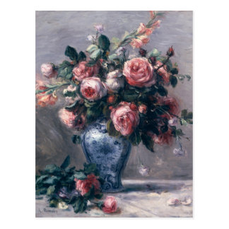 Pierre A Renoir   Vase of Roses Postcard