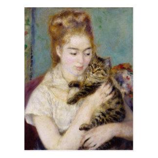 Pierre A Renoir | Woman with a Cat Postcard