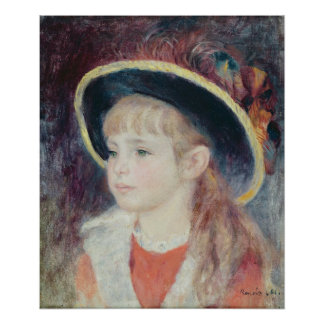 Pierre A Renoir | Young Girl in a Blue Hat Poster