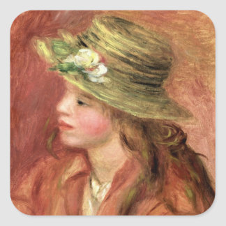 Pierre A Renoir | Young Girl in a Straw Hat Square Sticker