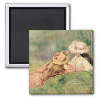 Pierre A Renoir | Young Girls on the River Bank Square Magnet