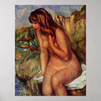 Pierre-Auguste Renoir - Bathers on a rock Poster