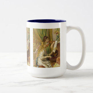 Pierre-Auguste Renoir, Young girl at the piano Two-Tone Coffee Mug