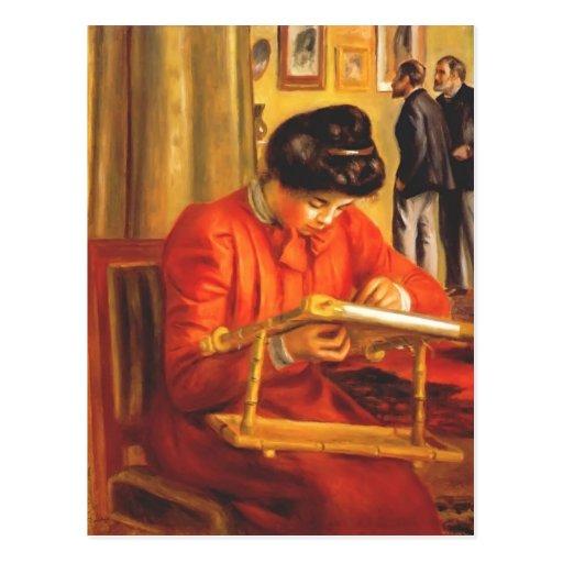 Pierre Renoir- Christine Lerolle Embroidering Postcard