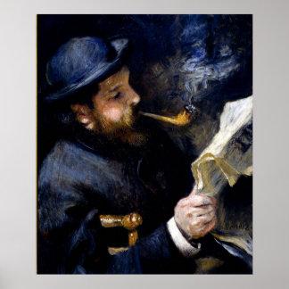 Pierre Renoir - Claude Monet Reading a Newspaper Poster