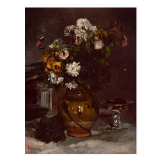 Pierre Renoir:Flowers in  Vase&Glass of Champagne Postcard