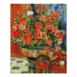 Pierre Renoir - Geraniums and cats Poster