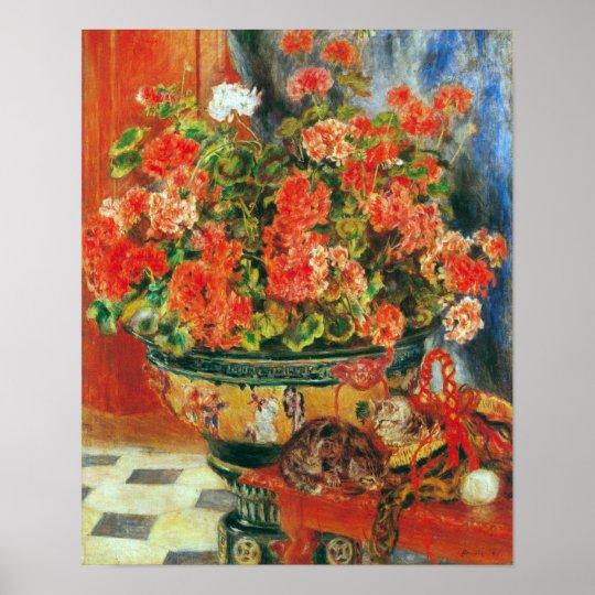 Pierre Renoir - Geraniums and cats Poster