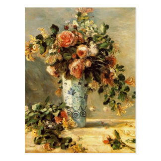 Pierre Renoir- Roses and Jasmine in a Delft Vase Postcard