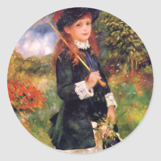 Pierre Renoir: Young Girl with a Parasol Classic Round Sticker
