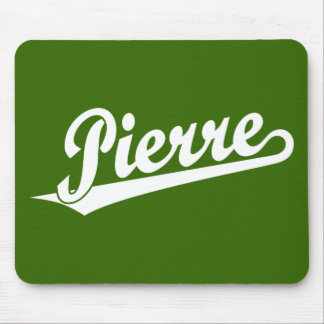 Pierre script logo in white mouse pad