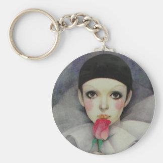 Pierrot 1980s basic round button keychain