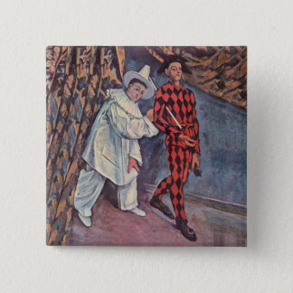 Pierrot and Harlequin 2 Inch Square Button