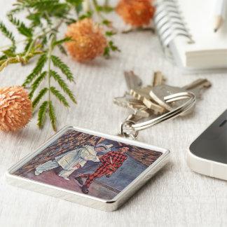 Pierrot and Harlequin Keychain