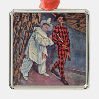 Pierrot and Harlequin Silver-Colored Square Ornament