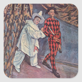 Pierrot and Harlequin Square Sticker