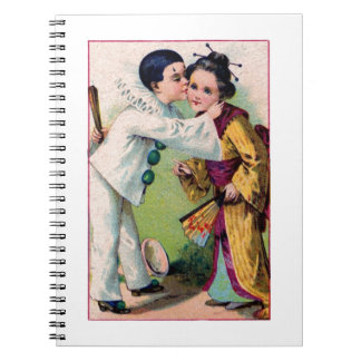 Pierrot Clown boy kissing geisha girl with kimono Notebook