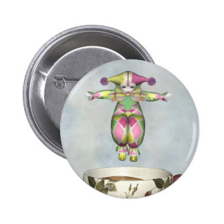 Pierrot Clown Doll Jumping into a Tea Cup 2 Inch Round Button