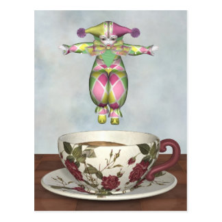 Pierrot Clown Doll Jumping into a Tea Cup Postcard