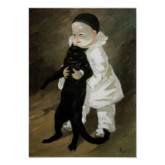 Pierrot with Cat, Alexandre Steinlen Poster