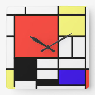 Piet Mondriaan and 1926 Composition Square Wall Clock