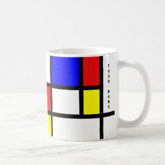 Piet Mondrian Art Style Modern Bright Add Name Coffee Mug