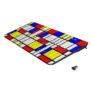 Piet Mondrian Art Style Modern Bright Colors Wireless Keyboard