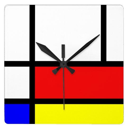 Piet Mondrian Art Style Modern Bright Colours Square Wall Clock