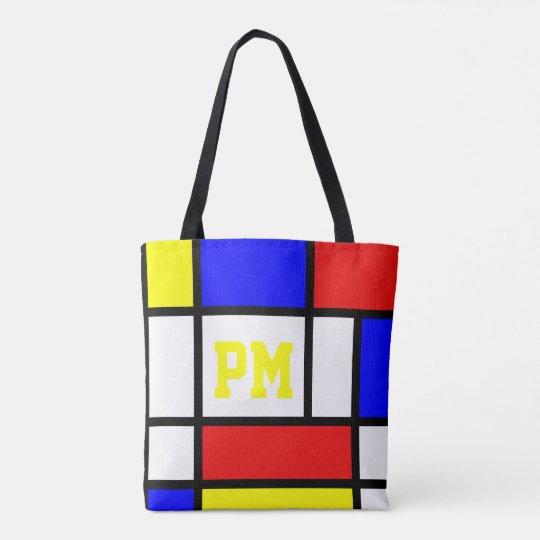 Piet Mondrian Art Style Modern Bright Initials Tote Bag