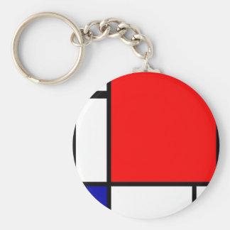 Piet Mondrian - Neoplastic Art Basic Round Button Keychain