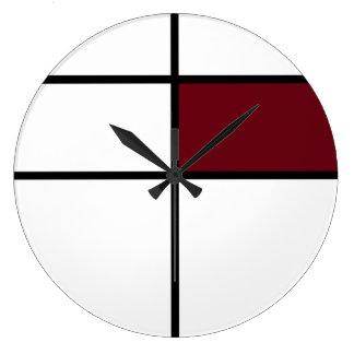 Piet Mondrian style design: maroon Large Clock