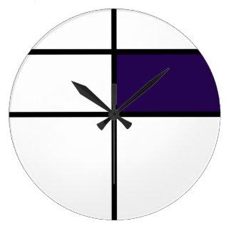 Piet Mondrian style design: purple Large Clock