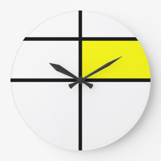 Piet Mondrian style design: yellow Large Clock