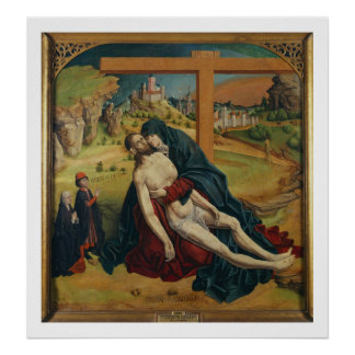 Pieta with Two Donors (oil on panel) Poster