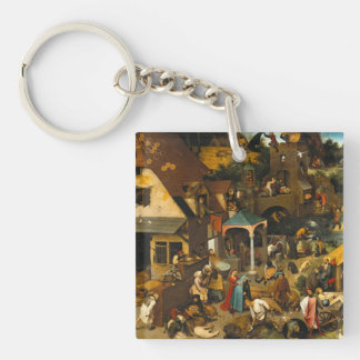 Pieter Bruegel the Elder - Netherlandish Proverbs Single-Sided Square Acrylic Keychain