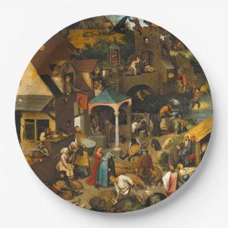 Pieter Bruegel the Elder - The Dutch Proverbs 9 Inch Paper Plate