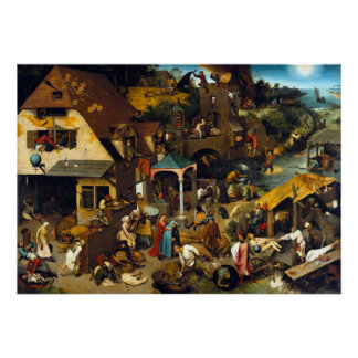 Pieter Brueghel Netherlandish Proverbs Poster