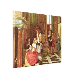 Pieter de Hooch - Card Players Canvas Print