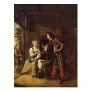 Pieter Hooch- Man Offering Wine to a Woman Postcard