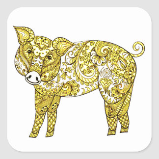 Pig 2 square sticker