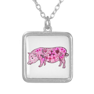 Pig 3 silver plated necklace