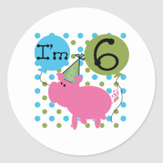 Pig 6th Birthday Round Sticker