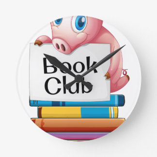 Pig and books wall clocks