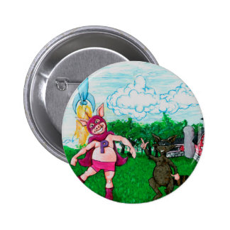 Pig and Raccoon and a Rocket 2 Inch Round Button