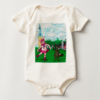Pig and Raccoon and a Rocket Baby Bodysuit