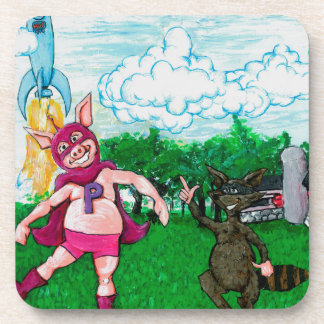 Pig and Raccoon and a Rocket Beverage Coasters