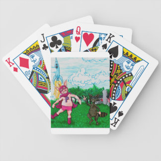 Pig and Raccoon and a Rocket Bicycle Playing Cards
