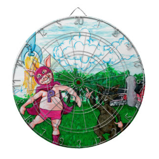 Pig and Raccoon and a Rocket Dartboard